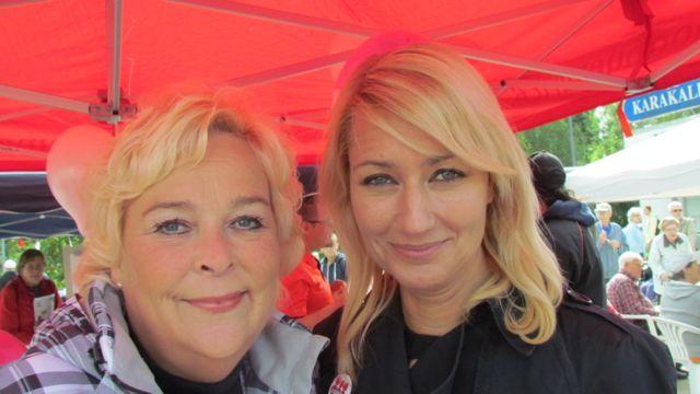 Demarien valtuustoryhmän Harriet Klar ja kansanedustaja Maria Guzenina.